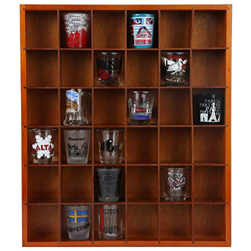 - Trenton Gifts Shot Glass Curio | Display Case with Hinged Front | 16 1/4