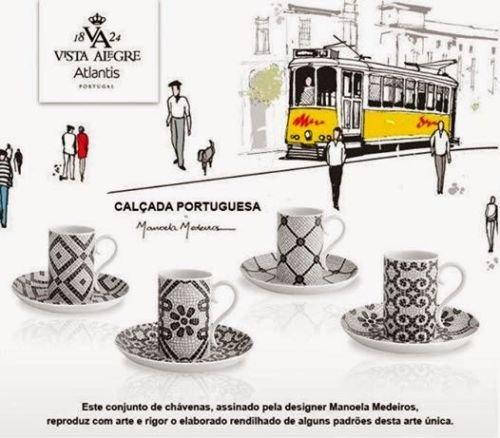 Set of 4 Porcelain Vista Alegre Portuguese Cobblestone Coffee Cups and Saucers