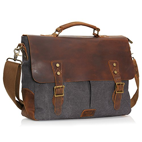Wowbox Leather Vintage Messenger Bag for 15.6 inch laptops,Satchel Briefcase Bag for Men and Women Grey