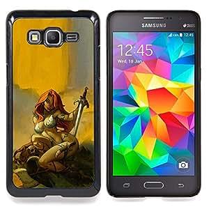 Eason Shop / Premium SLIM PC / Aliminium Casa Carcasa Funda Case Bandera Cover - Héroe Redhead atractivo amarillo - For Samsung Galaxy Grand Prime G530H / DS