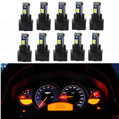 WLJH 10 Pack White Canbus T5 Led Bulb 2721 37 74 Wedge Lamp PC74 Twist Sockets Dash Dashboard Lights Instrument Panel Cluster Leds Car Replacement ()