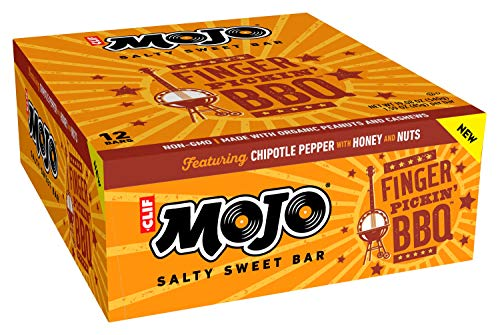 Clif Mojo Bar Salty Sweet Snack Fingerpickin' Barbeque, 12 Count