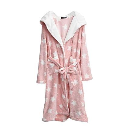 Pijamas Franela Sweet Sexy Ladies Mangas largas Bata Albornoz cálida Corbata Empate HUXIUPING (Color :