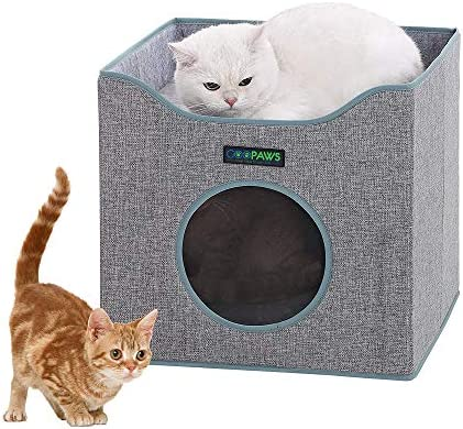 JESPET Foldable Cat Condo, Cat Cube House Sleeper with Lying Surface and 2 Reversible Cushions, Cat Hiding Place, Cat Cave, Linenette Fabric, Felt and Engineered Wood, Scratch Resistant, Smoke Gray