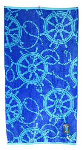 Lauren Ralph Lauren 35 x 66 Cyan Aqua Nautical Helm Wheels On Blue Background Double Sided Beach Towel