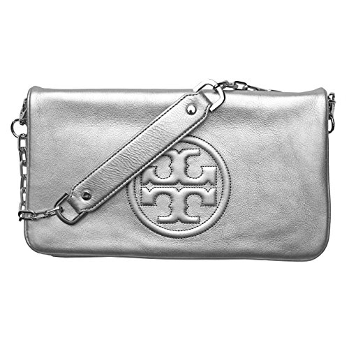 Tory Burch Reva Bombe Messenger Bag Foldover Leather - Burch Bag Silver Tory
