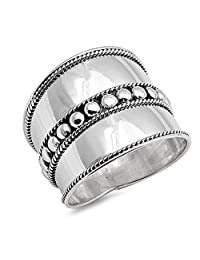 Noureda Sterling Silver Bail Design Ring, Face Height 19MM