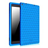 Fintie Silicone Case for Fire HD 10 (Previous 5th Generation - 2018 release ONLY) - [Honey Comb] Light Weight [Anti Slip] Shock Proof Kids Friendly Cover [NOT Fit All-New Fire HD 10 2018], Blue