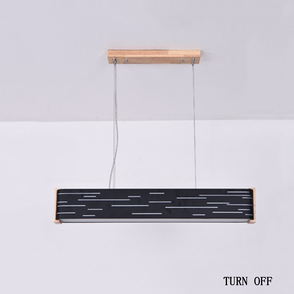 MOMO Modern Simplicity Led Patch Strip Acrylic Lampshade High Transmittance Wooden Art Chandelier Office Lights Solid Wood Bedroom Light Creative Restaurant Lamps,Black-warm-lights-80cm-24W by MOMO (Image #3)