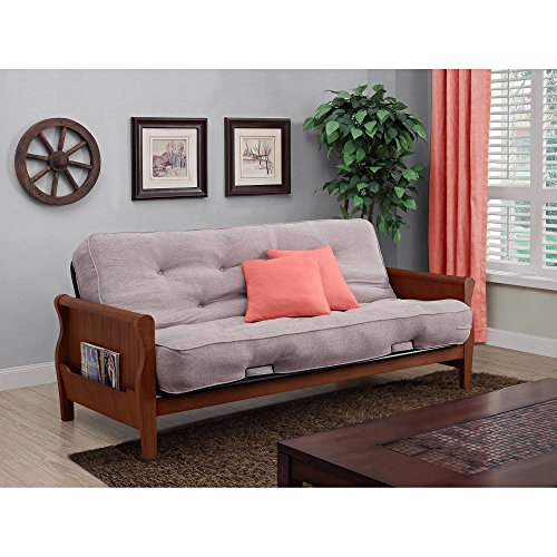"""Tan/Walnut Wood Arm Futon With 8"""" Coil Mattress, Living Room, Metal Futon with Cushions, Convertible to Full Size Sleeper, Bundle with Our Expert Guide with Tips for Home Arrangement from AB-Land"""