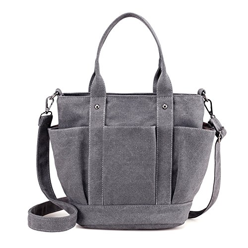 Canvas Mini Tote (Sornean Mini Heavy Duty Canvas Tote bag Shoulder Bag Crossbody Bag ,Zipper Top with Outer Pocket (Mini, Grey))