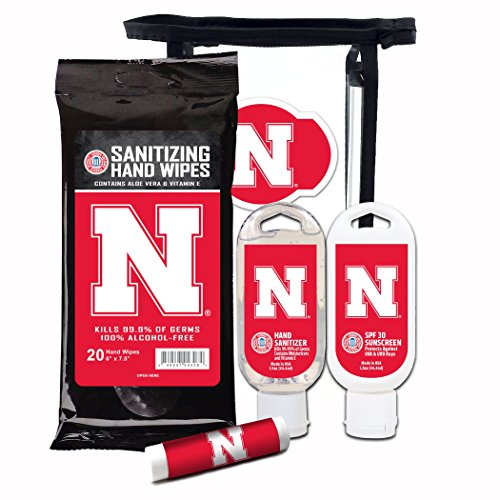 Worthy Promotional NCAA Nebraska Cornhuskers 4-Piece Premium Gift Set with SPF 15 Lip Balm, Sanitizer, Wipes, - Promotional Apparel Mens