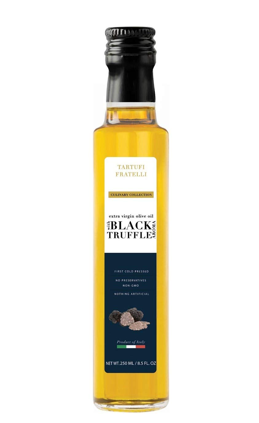 TARTUFI FRATELLI Black Truffle Oil 8.5 oz. (250ml) EVOO Extra Virgin Olive Oil, Non-GMO, Product of Italy, Gourmet Food Quality, Vegan , Vegetarian