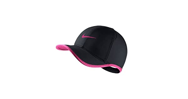 Nike Youth s Unisex Dri-Fit Featherlight Tennis Hat Black Vivid-Pink One  Size 4e7d854b67b0