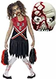 Zombie Cheerleader Kids Halloween Costume with Mask Age 7-14 (7-9 years)