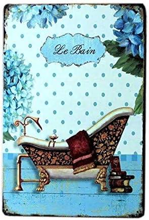 Le Bain - Placa de metal de hierro para bañera, diseño vintage, retro, decoración elegante, 30,5 x 20,3 cm