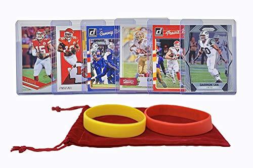 Kansas City Chiefs Cards: Patrick Mahomes, Tyreek Hill, Travis Kelce, Sammy Watkins, LeSean McCoy ASSORTED Football Trading Card and Wristbands Bundle