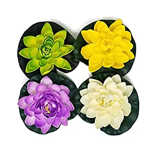 Meide Group USA 8' Inch Floating Lotus Lily pad Foam Flower for Ponds, Weddings, Pool, and Garden Decor Green, Ivory, Violet, Green (Set of 4) 45