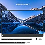 Portable Monitor, Upgraded 15.6″ IPS HDR 1920X1080 FHD Eye Care Screen USB C Gaming Monitor, Dual Speaker Computer Display HD Type-C Mini DP OTG VESA for Laptop PC MAC Phone Xbox PS4 with Smart Case