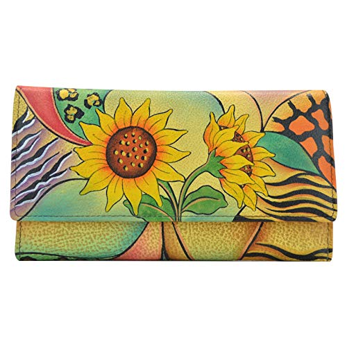 - Anna by Anuschka Hand Painted Leather | Checkbook Wallet/Clutch | Peacock Butterfly