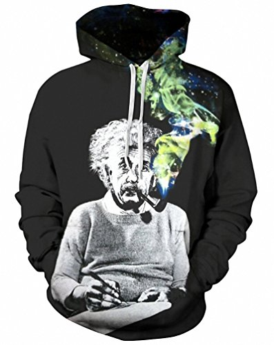 Crochi 3D Hoodie Einstein Smoking Funny Print Hooded Sweatshirts Men Casual Hoody Top Dropship colledge windbreaker pullover (Drop Ship Gifts)