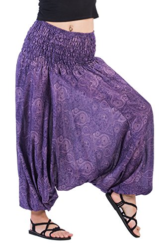 CandyHusky Women Gypsy Hippie Boho Baggy Loose Fit Elastic Jumpsuit Harem Pants (Paisley - Pants Purple Suit