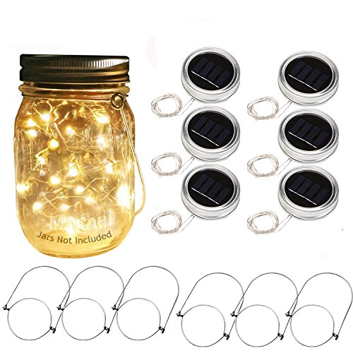Solar Mason Jar Lid Lights 6 Pack 20 LED Fairy String Light with 6 Hangers, Waterproof Hanging Lighting Outdoor Decoration for Patio Garden Decor Fit for Regular Mouth Jars (Warm White) by LED Bright Life