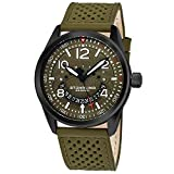 Stührling Original Men's 'Aviator' Quartz Stainless Steel and Leather Casual Watch, Color:Green (Model: 448.02)