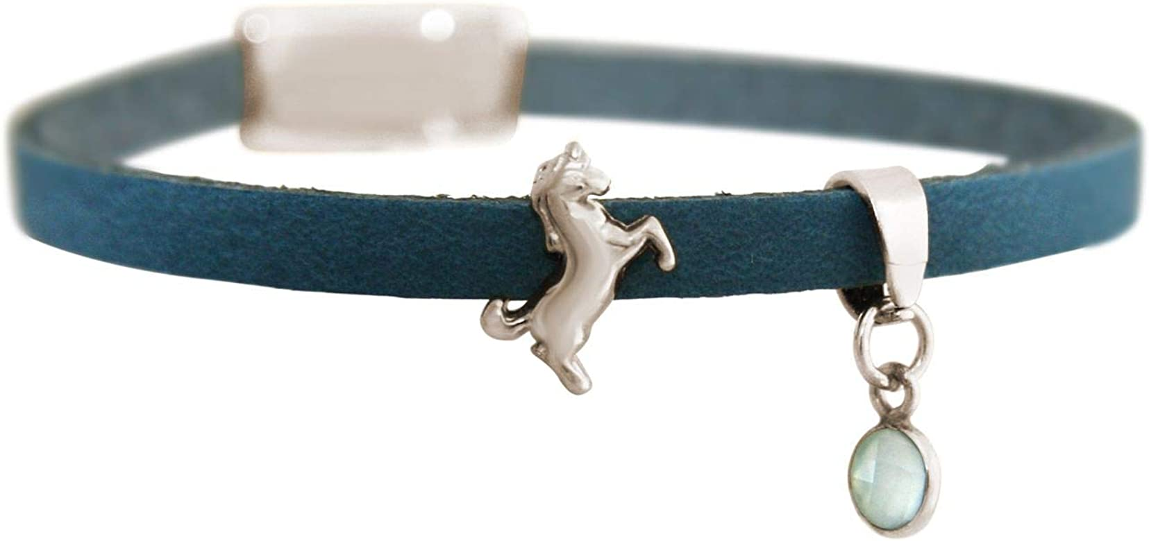 Gemshine pulsera con Unicornio de plata de ley maciza con cadena. En plata rodiada, chapada en oro o en oro rosa de 18k. Hecho a mano en España. Estuche de regalo, Color