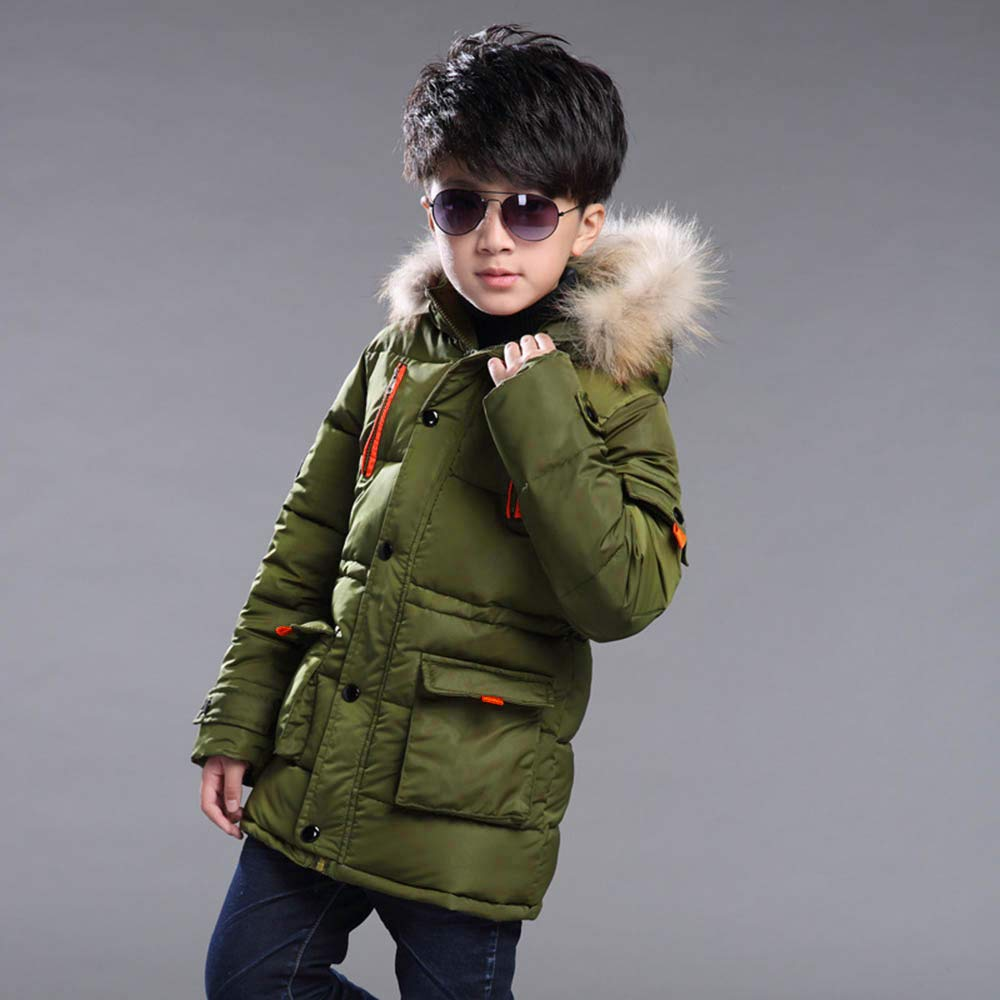 WARMSHOP Children Kids Boys Winter Hooded Snowsuit Winter Warm Fur Collar Hooded Down Windproof Jacket Outerwear