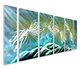 Pure Art Dazed Dandelion Flowers - Large Blue, Yellow, Turquoises on Silver Abstract Metal Wall Art Decor - Set of 6 Panels, Hanging Sculpture, Artwork for your Home, Business, Office - 65'' x 24''