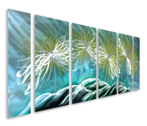 Pure Art Dazed Dandelion Flowers - Large Blue, Yellow, Turquoises on Silver Abstract Metal Wall Art Decor - Set of 6 Panels, Hanging Sculpture, Artwork for your Home, Business, Office - 65