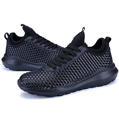 Aigorose Alla Moda Delle Donne Degli Uomini Che Camminano Sneakers Casual Traspirante Scarpe Da Corsa Atletiche Nero-pu