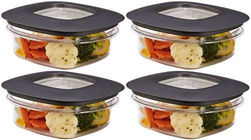 Rubbermaid Premier Food Storage Container, 1.25 Cup, Grey (Pack of 4)