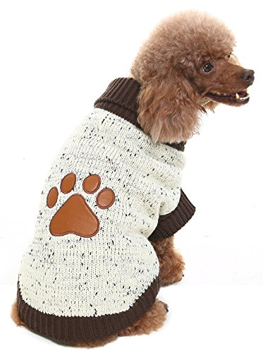 XS Turtleneck Dog Sweater Brown Paw - Pattern Sweaters Dog