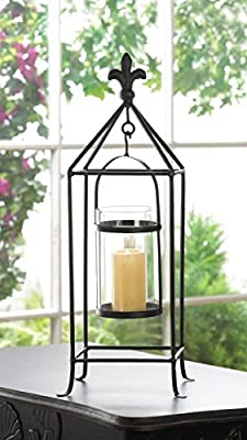 Tall Black Metal Framed Candle Stand Fleur De Lis Accent