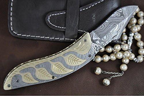 Perkin Knives – Custom Handmade Damascus Folding Knife – Beautiful Pocket Knife