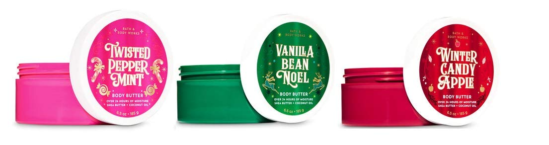 Bath and Body Works Holiday Traditions Body Butter Trio Vanilla Bean Noel - Twisted Peppermint & Winter Candy Apple -2019 Edition - Full Size