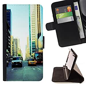 KingStore / Leather Etui en cuir / Samsung Galaxy A3 / NYC Traffic