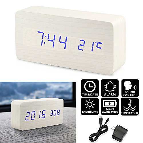 Oct17 Wooden Digital Alarm Clock, Wood Fashion Multi-function LED Alarm Clock with USB Power Supply, Voice Control, Timer, Thermometer - White