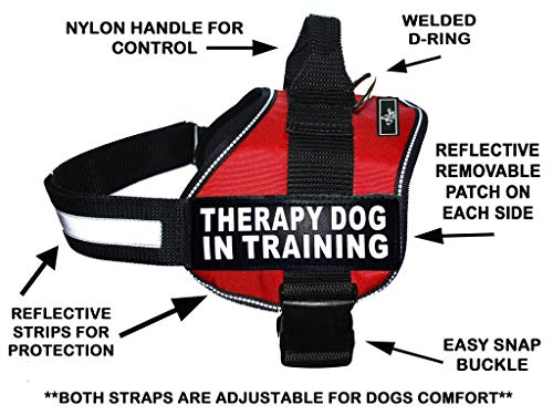 Therapy Dog in Training Nylon Dog Vest Harness. Purchase Comes with 2 Reflective Therapy Dog in Training pathces. Please Measure Your Dog Before Ordering (Girth 24-31, Red)