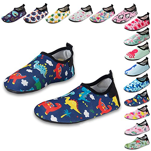 CiiaoLeoo Kids Water Shoes Quick-Dry Swim Barefoot Aqua Socks Shoes for Beach Pool Surfing Dance (5-6 M US Toddler, (Dancing Dinosaurs)