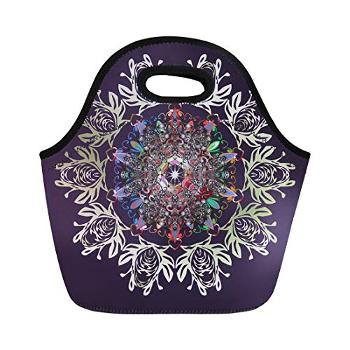 Semtomn Neoprene Lunch Tote Bag Applique Christmas Violet Neutral and Gray Snowflakes on Colors Reusable Cooler Bags Insulated Thermal Picnic Handbag for Travel,School,Outdoors,Work