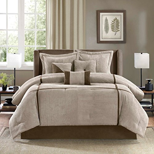 Corduroy Piece 3 Brown (Madison Park MP10-313 Dallas Bed Comforter Set Bed in A Bag Solid Bedding Sets (7 Pieces), Queen, Taupe/Ivory)