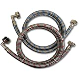 Premium Stainless Steel Washing Machine Hoses with 90 Degree Elbow, 4 Ft Burst Proof (2 Pack) Red and Blue Striped Water Conn
