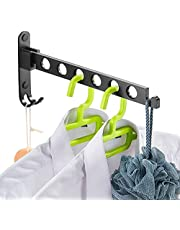 Danpoo Clothes Drying and Hanging Solution, Laundry Drying Rack, Folding Clothes Hanger Holder, Closet Organizer, Wall Mounted, Matte Black