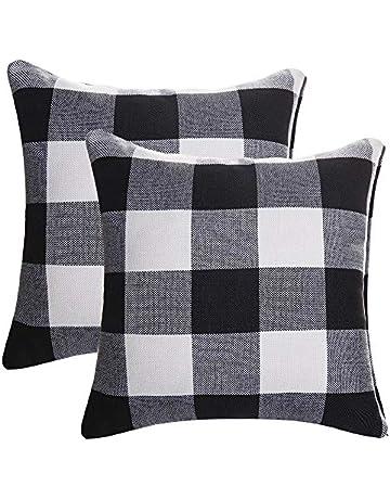 7542b4bf632e6 SEEKSEE Burlap Farmhouse Decor Buffalo Checkers Plaid Cotton Linen Decorative  Throw Pillow Cover Rustic Cushion Cover