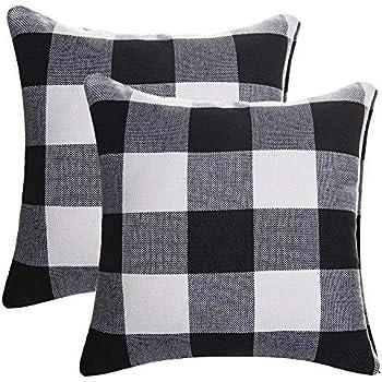 SEEKSEE Setof 2 Buffalo Checkers Plaids Throw Pillow Covers Farmhouse Linen Christmas Home Decor Pillowcase