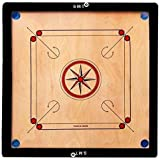 SMT 32 Inch Wood Round Pocket Carrom Board with Coins, Striker, and Powder (Brown)