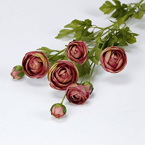 Pumpumly 8 Heads Artificial Fake Camellia Silk Flowers Bridal Bouquet Wedding Home Decor Dark Pink